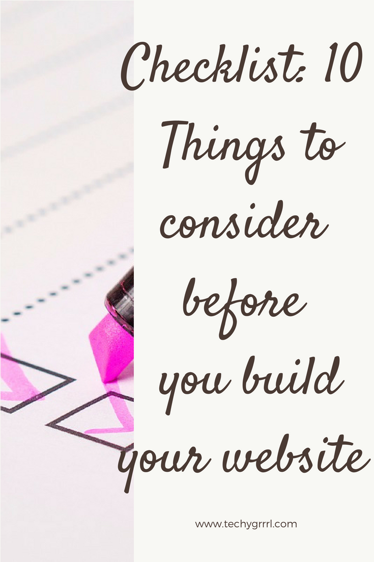 Checklist: 10 Things to consider before you build your website