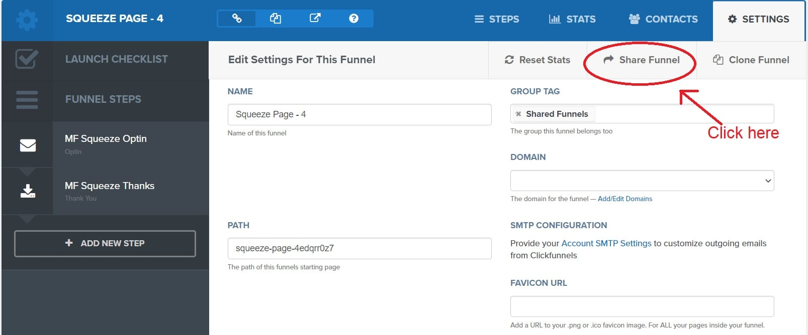 Click on the share funnel option - ClickFunnels