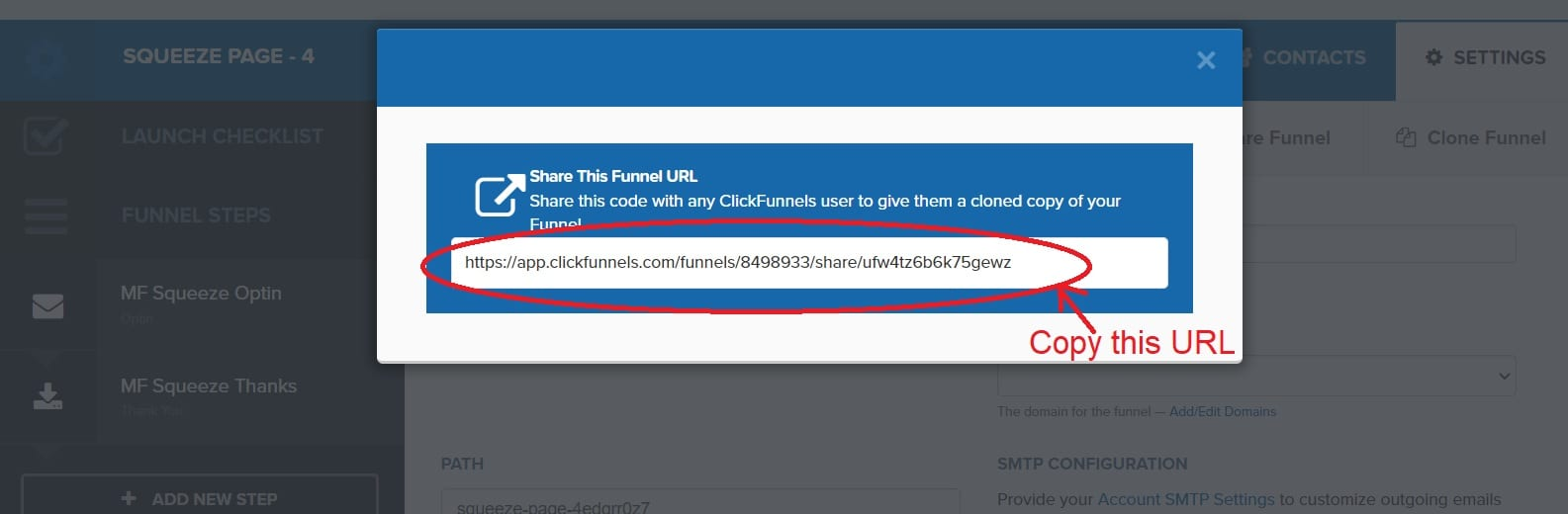 Copy the share funnel url -ClickFunnels