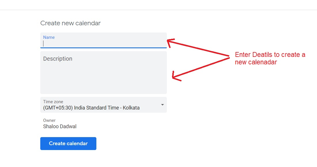 create a new Google calendar